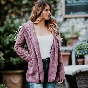 Jackets & Blazers - Fuzzy Hoodie Jacket MAUVE